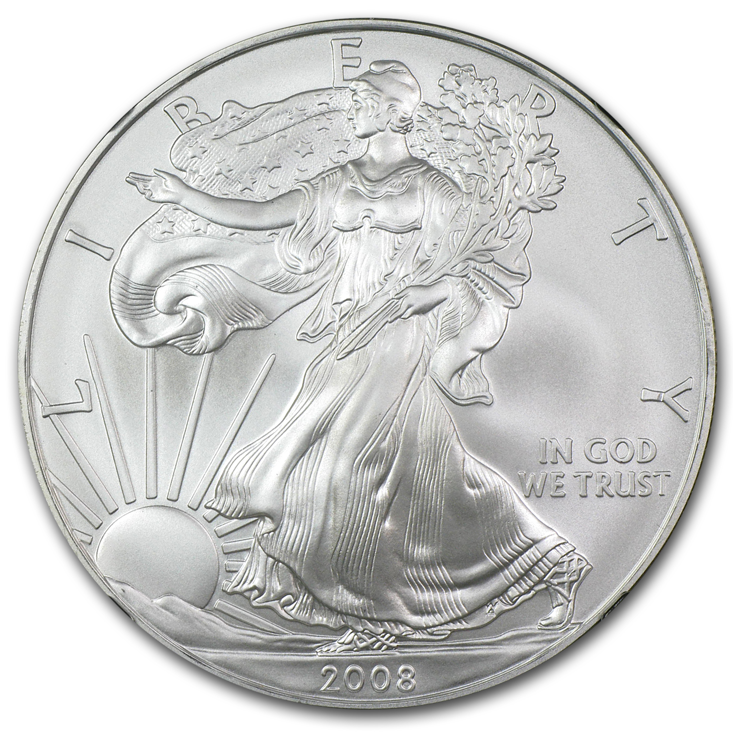 2008 Silver American Eagle - MS-70 NGC - Retro Black Insert